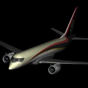 3D mitsubishi mrj regional jet model