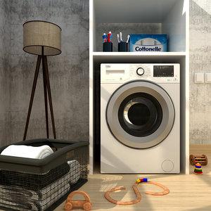 3D washing laundry basket room model
