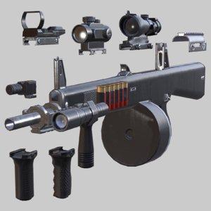 3D atchisson aa-12 - hd model