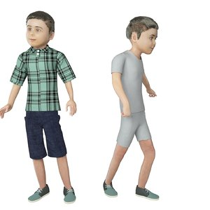 3D real cloths animation rigged character model