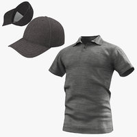 3D polo shirt baseball cap model