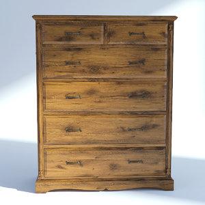 drawer natural victorian 3D model