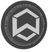 wanchain black coin 3D model