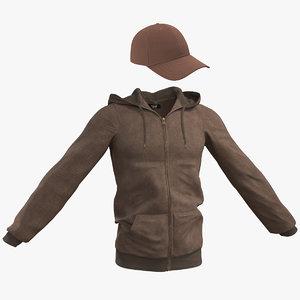 3D men s brown hoodie