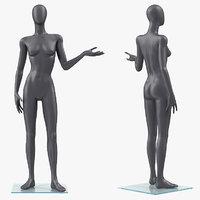 female dark grey mannequin 3D
