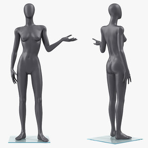 female dark grey mannequin 3D