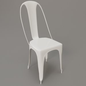 white painted metal dining chair 3D