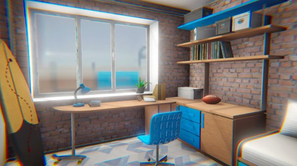 3D vr teen room model