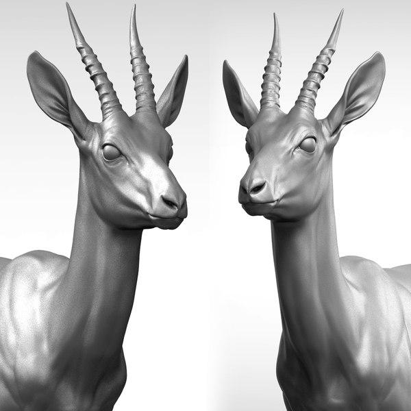 3D gazelle antelope gazella model