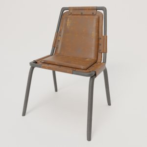 vintage industrial chair leather 3D