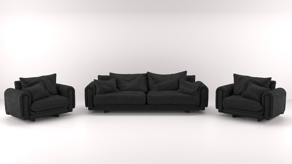 3D black armchair set