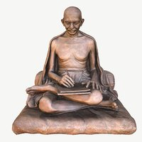 Gandhi with letter