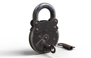 old padlock key 3D model