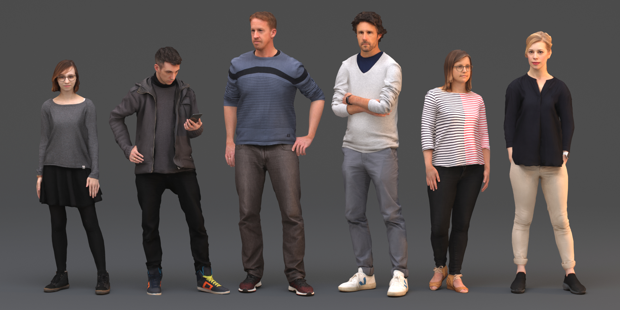 3D rigged animate crowd model