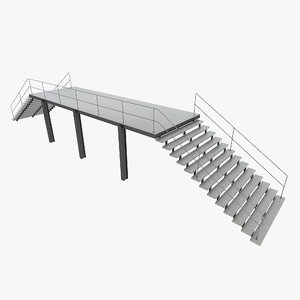 3D industrial staircase straight-1 model