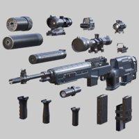 3D m14 gun - hd