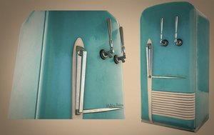 3D retro fridge model