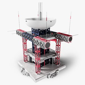 3D high-tech building 1 0 model