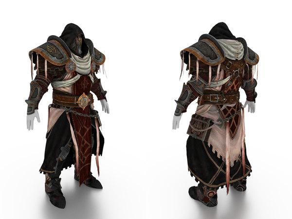 3D model body priest armor gauntlet