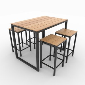 3D garden table chairs model