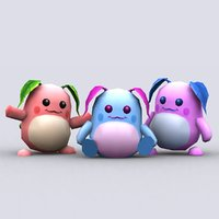 chibiimon moony cartoon character 3D