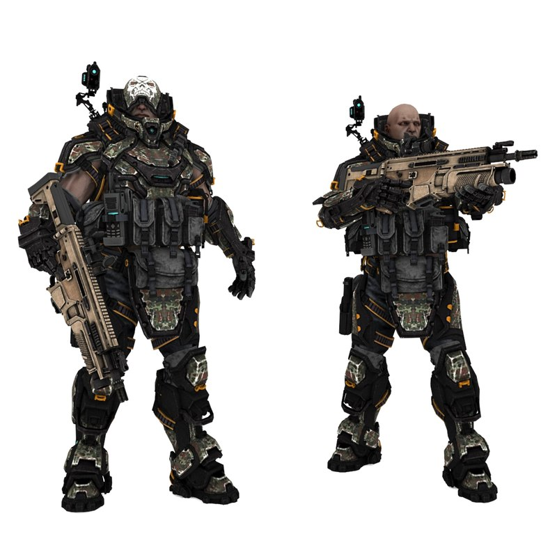 3D sci-fi soldier type c model