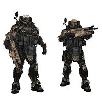 Sci-fi soldier type C two poses