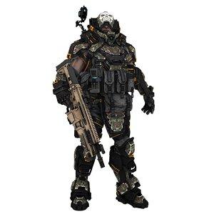 3D sci-fi soldier type c