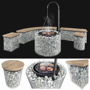 3D gabion fireplace bench