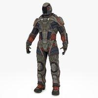 sci-fi soldier type b 3D model