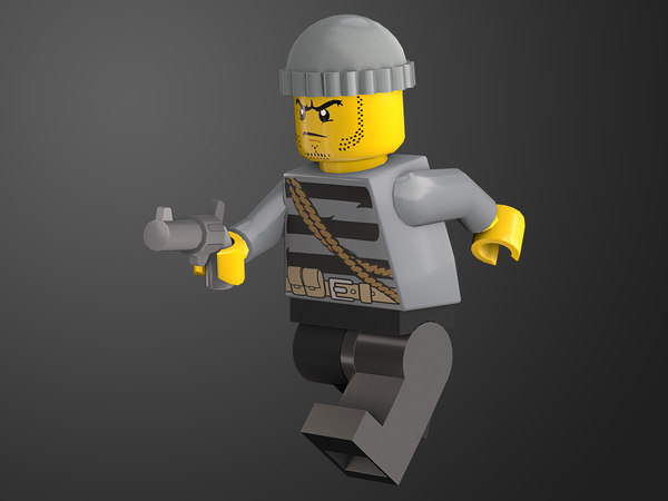 rigged ready robber lego character 3D model