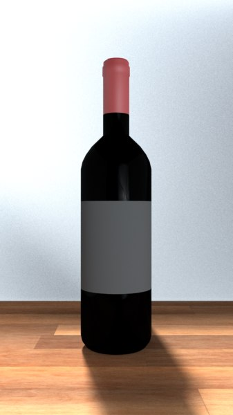 wine bottle bordeaux 3D model