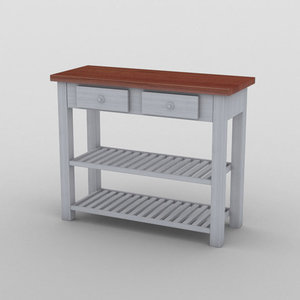 kitchen auxiliary wood table 3D