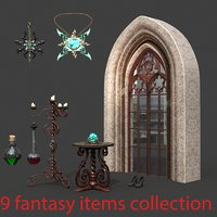 3D model fantasy items amulet