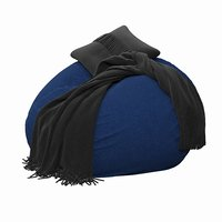 3D navy washed twill beanbag model