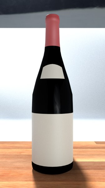 3D wine bottle champagne