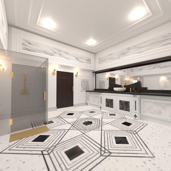 3D model luxurious bathroom interior