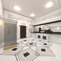 3D model luxurious bathroom interior