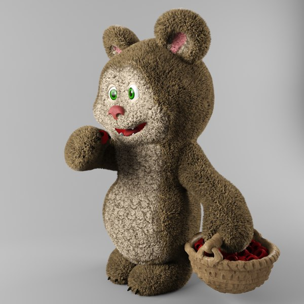 toy bear raspberry 3D model