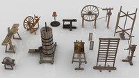 Pack of Medieval Craftsmen Machine-Tools