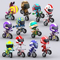 chibii racers dirt bikes 3D model