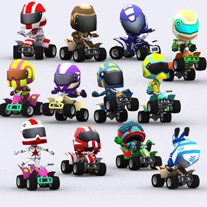 chibii racers quad bikes 3D model
