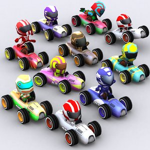 3D model chibii racers retro cars