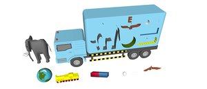 3D letter e truck toy model