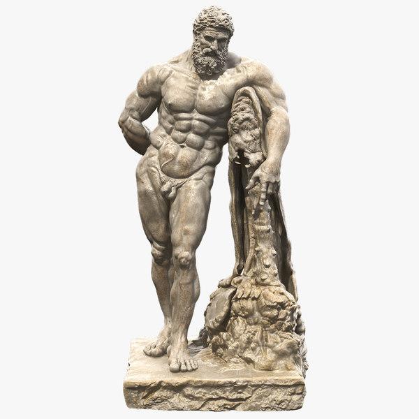 marble statue farnese hercules 3D model