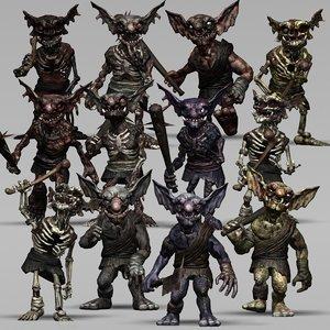 3D goblins undead modular kit