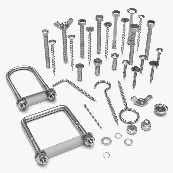 3D pack bolts screws model