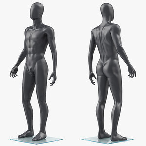 3D male dark grey mannequin model