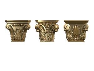 set square column capitals 3D model