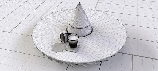 3D model turbofan coffee table raw